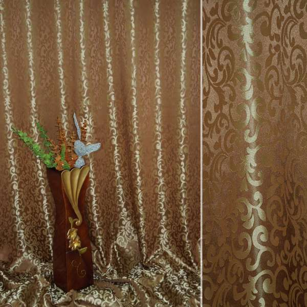 "атлас жак. 2-х ст. мелкий ""исп.двор"" коричнево-золотистый ш.280"