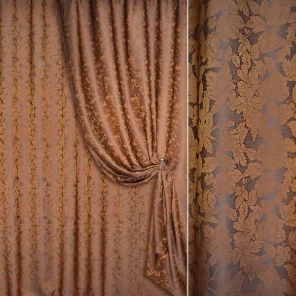ткань порт.жакк.коричневая с рыжими листами двухстор.
