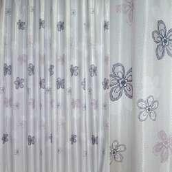 Атлас жак. порт. св.-серый в серые, корич. цветы ш.270