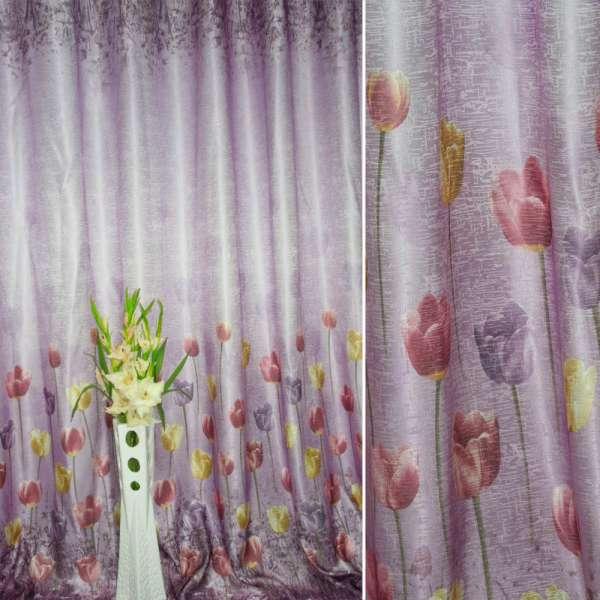 """Атлас жаккардовый фиолетовый темный, светло-фиолетовые """"тюльпаны"""" штамп, ш.280"""