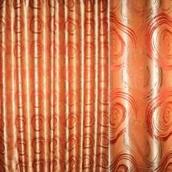 Атлас жаккардовый с метанитью персиковый с красными кругами ш.280