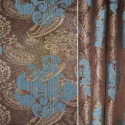 Жаккард с метанитью коричневый в синий вензель и огурцы ш.280