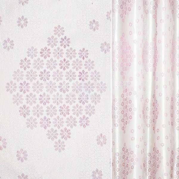 Жаккард с метанитью розовый в серебряные ромашки ш.275