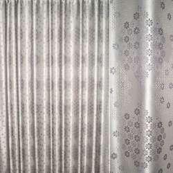 Жаккард с метанитью серый в серебряные ромашки ш.275