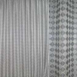 Жаккард с метанитью серый в серебристые ромбы ш.275
