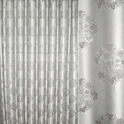 Жаккард с метанитью серый с серебрянным букетом цветов ш.280