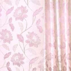 Жаккард с метанитью молочно-розов. с  сирен,веткой,цветами 280