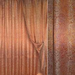 Парча портьерная жаккардовая рыже-золотая с розами ш.280