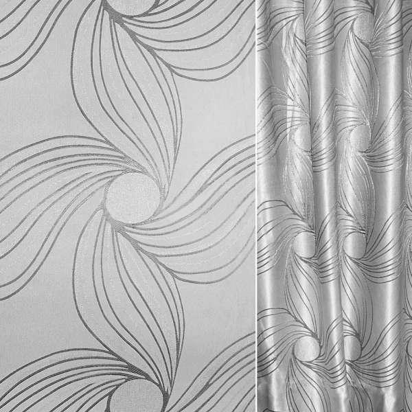 Жаккард с метанитью серебристая абстр. цветок ш.280
