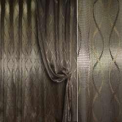 Жаккард портьерный оливково-серый с вьющимися восьмерками, ш.280