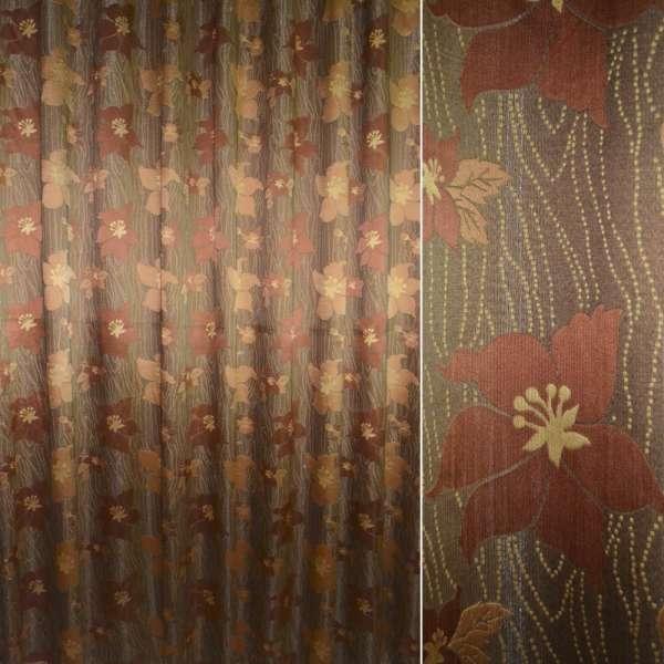 ткань порт.жакк.коричневая с терр.и св-кор.цв,ш.295см