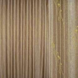 Жаккард портьерный двойной с органзой коричнево-золотистый с люрексом, ш.280