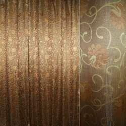 Жаккард портьерный кофейный с коричневыми цветками и завитками,ш.300