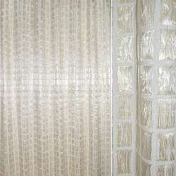 Органза портьерная двойная молочная, светло-бежевые и белые нити ш.280