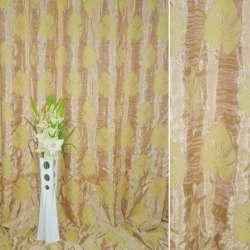 """Фукра портьерная розово-оливковая """"листья"""", ш. 270"""
