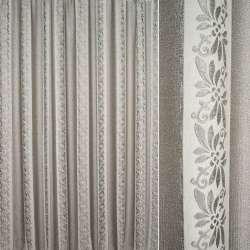 Фукра портьерная с шениллом серая светлая, полосы с орнаментом ш.280