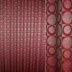 Фукра портьерная вишневая, квадраты с кругами и кольцами ш.280