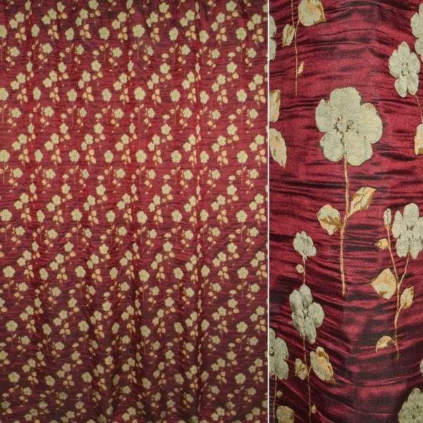 ткань порт.фукра бордовая с оливковыми цветами