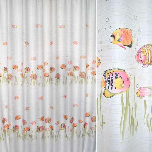 ткань порт. белая с розовыми рыбками ш.280