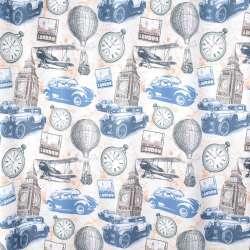 Креп портьерный кремовый, Лондон, башни, часы, ш.280