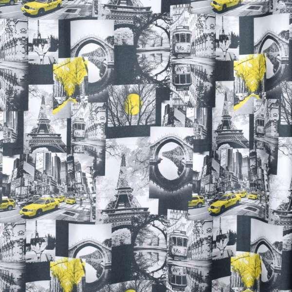 Креп портьєрний чорний, чорно-білі фото, Ейфелева вежа, ш.280