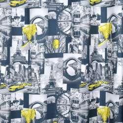 Креп портьерный серый темный, черно-белые фото, Эйфелева башня, ш.280