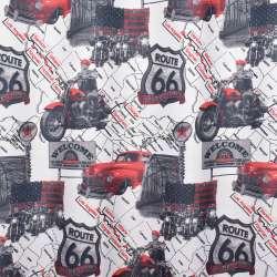 Креп портьєрний білий, червона машина, карта США, ш.280