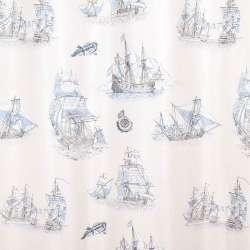 Поликоттон портьерный бежевый, серо-голубые фрегаты, ш.280