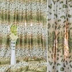 """атлас бежево-білі + зелені смуги """"леопард"""" ш.280"""