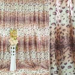 """Атлас в бежево-білі + рожеві смуги """"леопард"""" ш.280"""