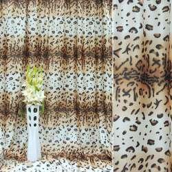 """Атлас в бежево-білі + коричневі смуги """"леопард"""" ш.280"""
