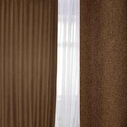 Блэкаут лен рогожка коричневая темная, ш.280
