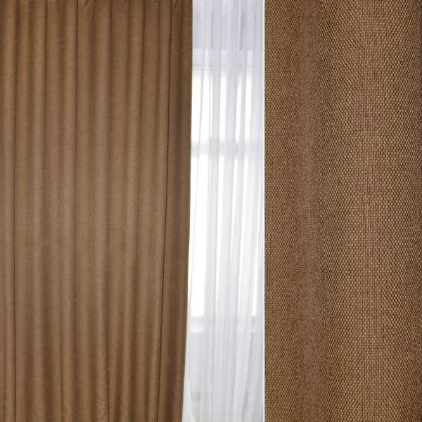 Блэкаут лен рогожка коричневая светлая, ш.280