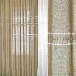 Льон портьєрний оливково-бежевий з мережкою та вишивкою ш.280