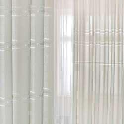Льон портьєрний молочно-сірий з мережкою та вишивкою ш.280