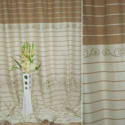 Лен портьерный молочный с бежевой вышивкой и коричневыми полосками ш.270