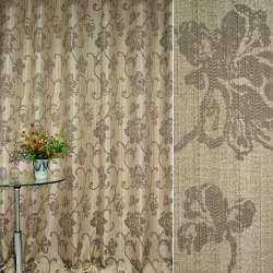 Лен жаккардовый коричневый светлый с бежевыми цветами и завитками ш.280