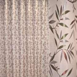 """Льон портьєрний бежево-рожевий з коричнево-зеленою """"гілочка з листям"""" ш.280"""