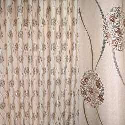 """Льон портьєрний бежево-рожевий """"хвилі + кола з квітами"""" ш.280"""