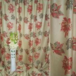 Лен жаккардовый оливковый светлый с зелено-красными листьями ш.280