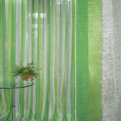 Лен портьерный облегченный в полоску зелено-салатовую, кремовую ш.300