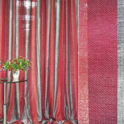 Лен портьерный облегченный в полоску красно-серую ш.300