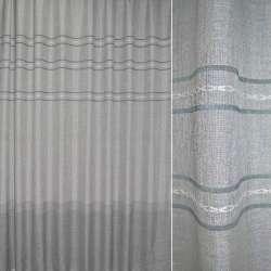 Лен портьерный серый светлый люрекс в зеленые полосы вышивки ш.280