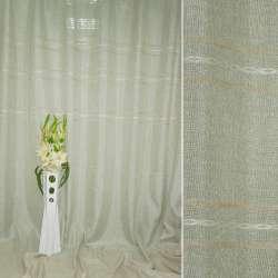 Лен портьерный молочный люрекс в персиковые полосы вышивки ш.280