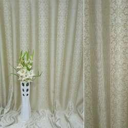 Лен портьерный песочный в полоску с молочными тюльпанами ш.270