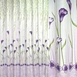 Льон портьєрний молочний з фіолетово-зеленими каллами (купон) ш.2