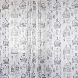 """Лен портьерный облегченный белый """"архитектура"""", рисунок долевой, ш.280"""
