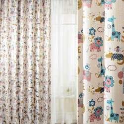 Блекаут льон рогожка молочний блакитні жирафи, леви, квіти ш.280