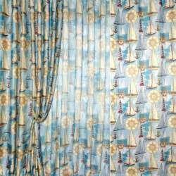 Блекаут льон рогожка блакитна в кораблі і маяки ш.280