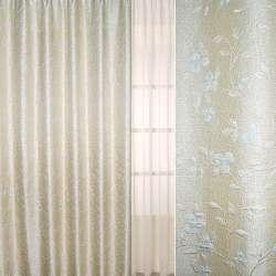 Рогожка-фукра бежева світла з люрексом з кучерявими блідо-блакитними квітами ш.280